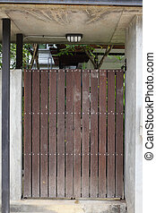 wood brown door front gate in modern house