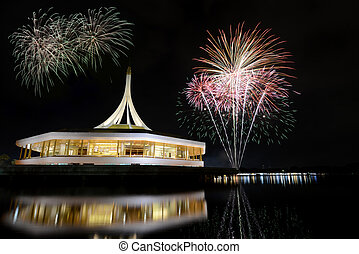 Fireworks on rama nine park, Thailand.