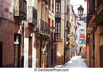 Old narrow street in spanish city Logrono