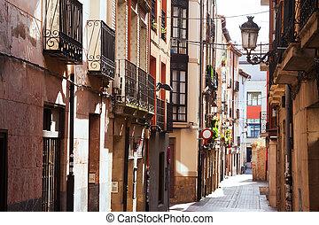 Old narrow street in spanish city Logrono