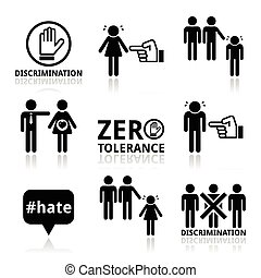 Stop discrimination icons set - Vector icons set - zero...