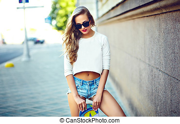portrait of sexy young stylish smiling woman girl model in...
