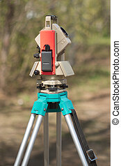 Electronic total station on tripod - Electronic tacheometer...