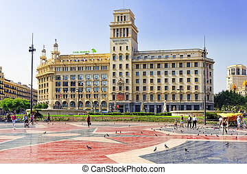 Famous Placa De Catalunia in Barcelona Spain