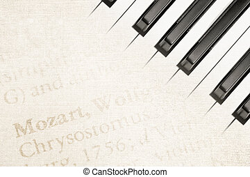 mozart piano - background of mozart text on antique paper...