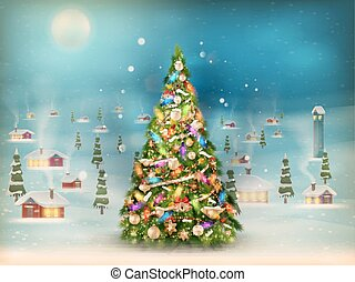 Snowfall covered little village with tree. EPS 10