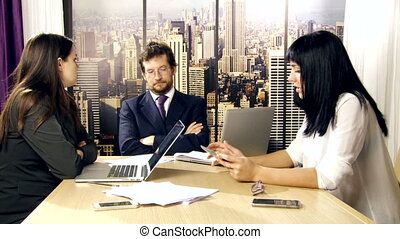 Boss angry with female coworker - Business meeting boss...