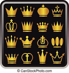 crowns on a black background