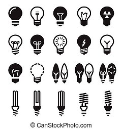 Light bulbs. Bulb icon set on a white background