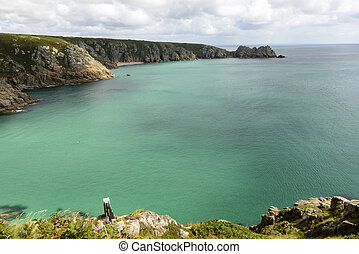 Porthcurno bay, Cornwall - aerial view of bay in front of...