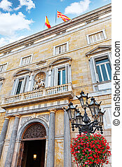 Placa de Sant Jaume.The central area of Barcelona, the building of the Government of Catalonia . Barcelona