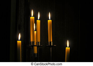 Candles burning in a room - Candles burning in a dark room...