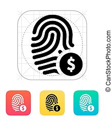 Fingerprint with USD currency symbol and money label icon....