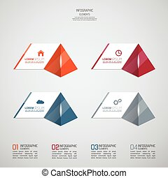 Modern template with glossy pyramids and strips of paper of...
