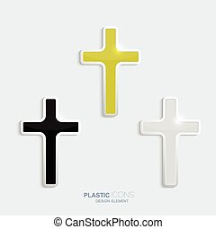 Set of crosses in a plastic style