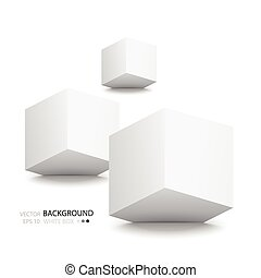 White cubes isolated on white background. Minimalistic...