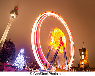 berlin ferris wheel - television tower, town hall and ferris...