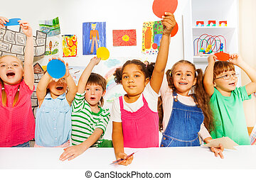 large group of kinds in kindergarten class - Group of happy...