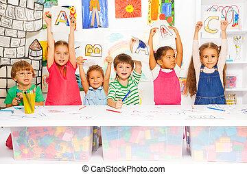 pequeno, crianças, letras, escrita, aprendizagem, esperto