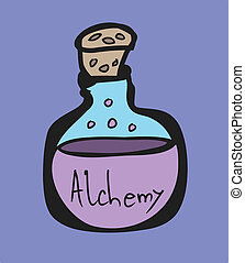 Test Tube, alchemy symbols cartoon