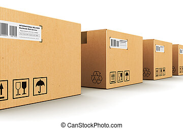 Row of cardboard boxes - Creative abstract shipping,...