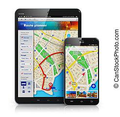 GPS, nawigacja, Na, Ruchomy, urządzenia,