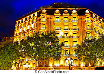 Night view of street's  in  Barcelona.Catalonia.Spain.