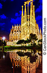 SAGRADA, Familia, beautiful, y, majestuoso, Al aire libre,...