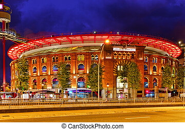 oud, arena, Gebouw, in, Barcelona, Spain., nacht,...