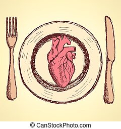 Sketch human heart on the plate in vintage style, unexpected...