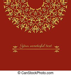 oriental border red card - beautiful greeting card template...