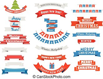 Different retro style christmas ribbons set isolated on white. D