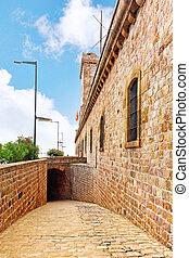 View of Castillo de Montjuic on mountain Montjuic in...