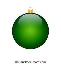 christmas bulb - green christmas bulb (isolated, on white...