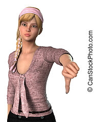 Thumb Down - 3D digital render of a teen girl showing thumb...