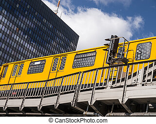 public transport berlin - a train on a bridge in berlin in...