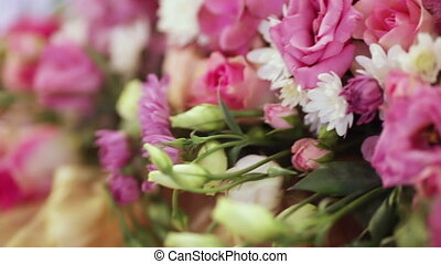Flowers decoration - Beautiful bouquet of flowers on desk...