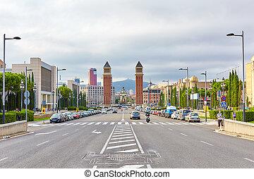 Famous   Placa De Espanya in Barcelona.Spain