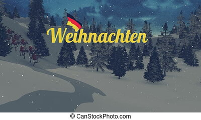 Animated Weihnachten text and Santa - Animated German...