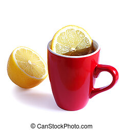 Red cup tea with lemon on white