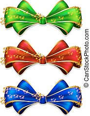 Bow in 3 color - Vector illustration of collection bow in 3...
