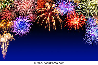 Fireworks display on dark blue - Gorgeous multi-colored...