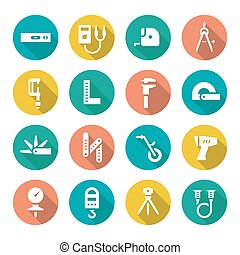 Set flat icons of measuring tools