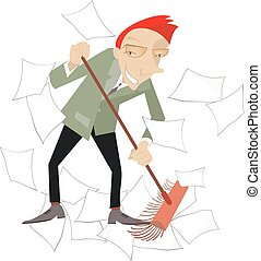 Tidying up - Businessman sweeps papers from the office