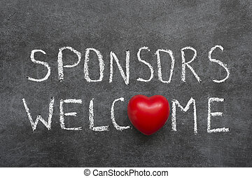 sponsors welcome phrase handwritten on chalkboard with heart...