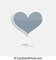 Plastic icon heart symbol. Sky blue color. Creative element...