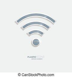 Plastic icon symbo wi-fi zonel. Sky blue color. Creative...