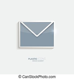 Plastic icon email symbol. Sky blue color. Creative element...