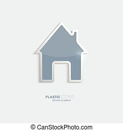 Plastic icon house symbol. Sky blue color. Creative element...