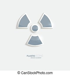 Plastic icon radiation symbol Sky blue color Creative...